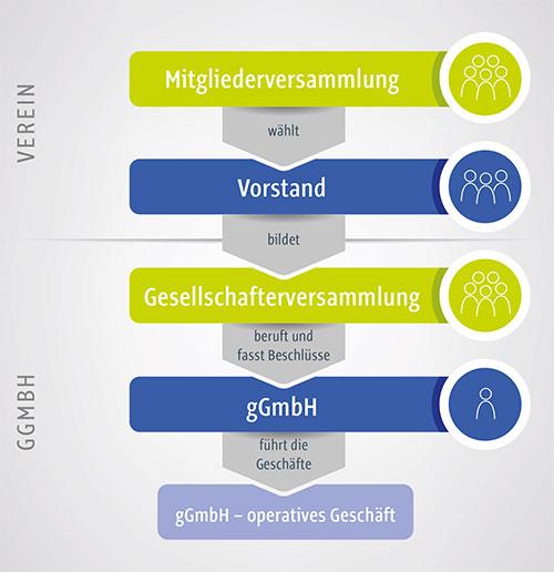 Infografik über die Organe des Vereins und der gGmbH der Werk-Hilfe